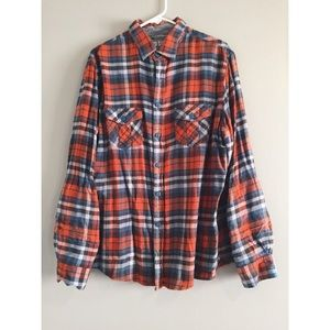 red blue & white men's flannel button up / down